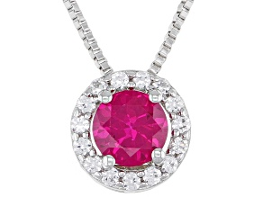 Pre-Owned Red Lab Created Ruby Sterling Silver Pendant With Chain 0.95ctw
