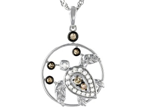 Pre-Owned Champagne And White Diamond Rhodium Over Sterling Silver Turtle Pendant With Chain 0.54ctw