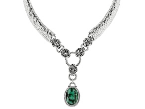 Pre-Owned Emerald Sterling Silver Drop Necklace