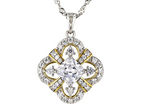 Pre-Owned White Cubic Zirconia Rhodium Over Sterling Silver Pendant With Chain 3.98ctw