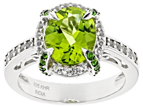 Pre-Owned Green Period Rhodium Over Silver Ring 2.68ctw
