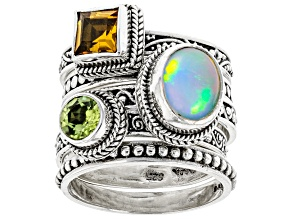 Pre-Owned Multi-Color Opal Sterling Silver Set of Rings 1.87ctw