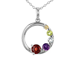 Pre-Owned Multi- Gemstone Rhodium Over Silver Pendant W/ Chain 0.71ctw