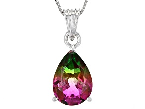 Pre-Owned Multicolor Watermelon Quartz Doublet Silver Pendant With Chain
