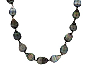 Pre-Owned Cultured Tahitian Pearl Rhodium Over Silver Necklace 10-11mm