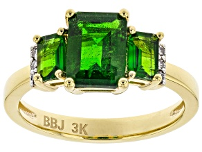 Pre-Owned Green Chrome Diopside 18k Yellow Gold Over 3k Gold Ring 1.69ctw