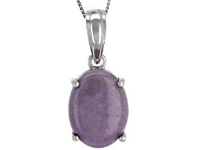 Pre-Owned Purple Phosphosiderite Rhodium Over Sterling Silver Enhancer with Chain