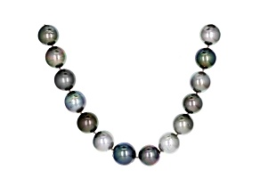 Pre-Owned Cultured Tahitian Pearl Rhodium Over Sterling Silver Necklace 12-15mm