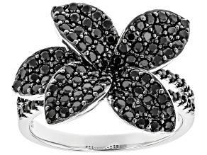 Pre-Owned Black Spinel Rhodium Over Sterling Silver Ring 1.92ctw