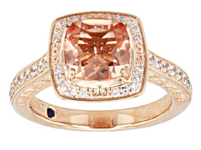 Pre-Owned Pink Genuine Quartz Doublet And White Cubic Zirconia 18k Rose Gold Over Sterling Silver Ri