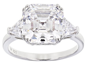 Pre-Owned White Cubic Zirconia Rhodium Over Sterling Silver Asscher Cut Ring 8.54ctw
