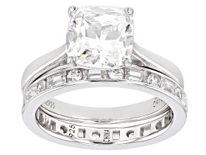 Pre-Owned White Cubic Zirconia Rhodium Over Sterling Silver Ring With Band 3.25ctw