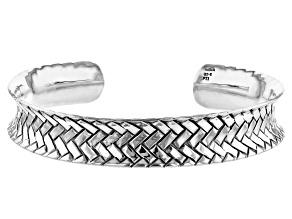 Pre-Owned Sterling Silver Weave Design Cuff Bracelet 7 Inch