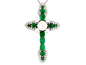 Pre-Owned White Cultured Freshwater Pearl Sterling Silver Cross Pendant With Chain 2.81ctw