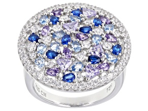 Pre-Owned Lab Created Blue Spinel, Purple, & White Cubic Zirconia Rhodium Over Silver Cluster Ring 8