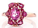 Pre-Owned Pink topaz 18k rose gold over sterling silver ring 2.39ctw