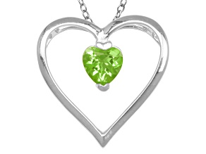 Pre-Owned Green Peridot Sterling Silver Pendant With Chain .68ctw