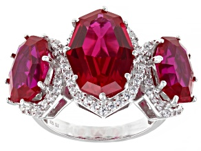Pre-Owned Lab Created Ruby And White Cubic Zirconia Rhodium Over Sterling Silver Ring 16.18ctw