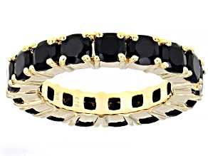 Pre-Owned Black Spinel 18k Yellow Gold Over Sterling Silver Eternity Band Ring 6.00ctw