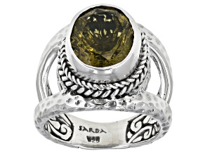 Pre-Owned Green Olive Quartz Sterling Silver Ring 4.08ct