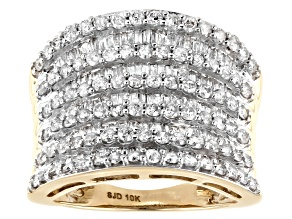 Pre-Owned White Diamond 10K Yellow Gold Multi-Row Cocktail Ring 2.10ctw