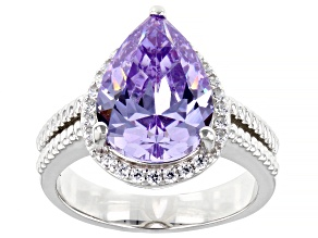 Pre-Owned Purple And White Cubic Zirconia Platinum Over Sterling Silver Ring 9.18ctw