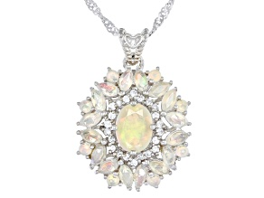 Pre-Owned Multicolor Ethiopian Opal Rhodium Over Silver Pendant With Chain 1.67ctw