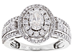 Pre-Owned White Lab-Grown Diamond 14K White Gold Halo Ring
