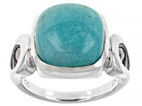 Pre-Owned Blue Amazonite Rhodium Over Sterling Silver Solitaire Ring