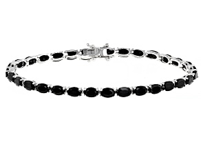 Pre-Owned Black Spinel Rhodium Over Sterling Silver Tennis Bracelet 13.32ctw