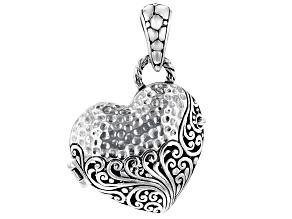 "Pre-Owned Sterling Silver ""Treasure Box"" Heart Locket Pendant"