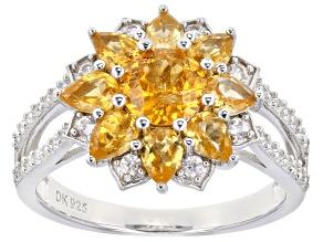 Pre-Owned Orange Spessartite Rhodium Over Silver Ring 2.59ctw