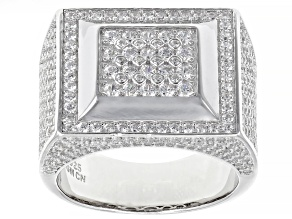 Pre-Owned White Cubic Zirconia Rhodium Over Sterling Silver Mens Ring 3.74ctw