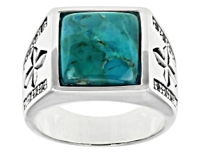 Pre-Owned Mens Turquoise And White Topaz Rhodium Over Silver Cross Detail Ring 0.17ctw
