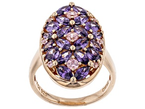 Pre-Owned pink and purple cubic zirconia 18k rg over sterling silver ring 5.47ctw