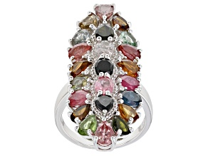 Pre-Owned  Multi-Tourmaline Rhodium Over Sterling Silver Ring 6.55ctw