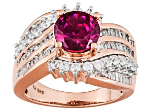Pre-Owned Lab Created Ruby And White Cubic Zirconia 18k Rose Gold Over Silver Ring 4.66ctw