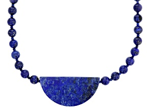 Pre-Owned Blue Lapis Lazuli Rhodium Over Sterling Silver Bead Necklace