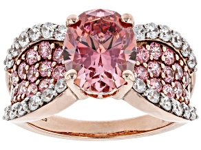 Pre-Owned Fancy Pink And White Zirconia From Swarovski ® 18k Rose Gold Over Sterling Silver Ring 7.3