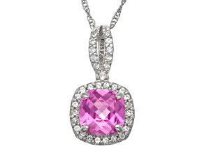 Pre-Owned Synthetic Pink And White Sapphire Sterling Silver Pendant With Chain 1.47ctw