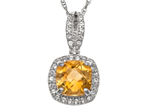 Pre-Owned Citrine And Synthetic White Sapphire Sterling Silver Pendant With Chain 1.47ctw