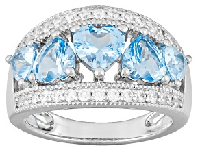 Pre-Owned Lab Created Blue Spinel And White Diamond Simulant Rhodium Over Silver Heart Ring 3.30ctw