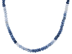 Pre-Owned Blue Opal Bead Rhodium Over Sterling Silver Necklace