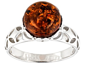 Pre-Owned Orange Amber rhodium over Sterling Silver Ring