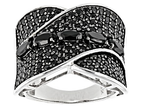 Pre-Owned Black Spinel Rhodium Over Sterling Silver Band Ring 3.04ctw