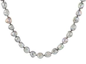 Pre-Owned Silver Cultured Freshwater Pearl Rhodium Over Sterling Silver 18 Inch Strand Necklace