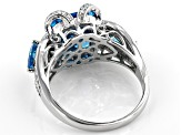 Pre-Owned Blue And White Cubic Zirconia Rhodium Over Sterling Silver Ring 8.32ctw