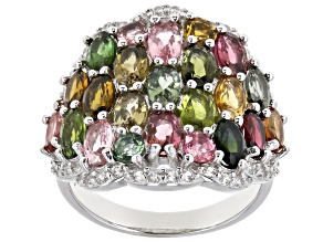 Pre-Owned Multi-Color Tourmaline Rhodium Over Silver Ring 4.60ctw