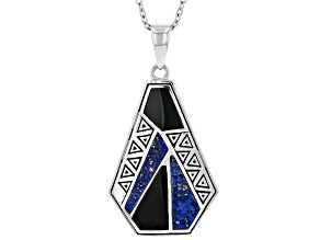 Pre-Owned Blue Lapis Lazuli And Black Onyx Rhodium Over Silver Pendant with Chain