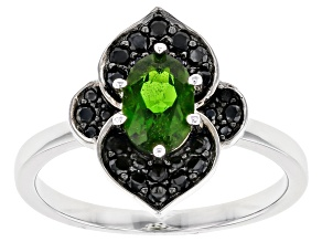 Pre-Owned Green Chrome Diopside Rhodium Over Sterling Silver Ring 1.14ctw